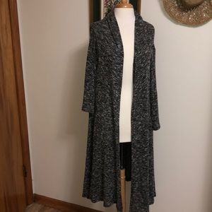 Oatmeal gray long cardigan with long sleeves
